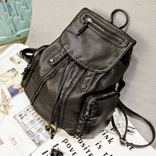 New Design Black Leather Custom Fashion China School Bag Backpack Women Oem Factory