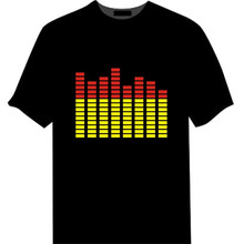 Promo wholesale customize sound activated led T shirt