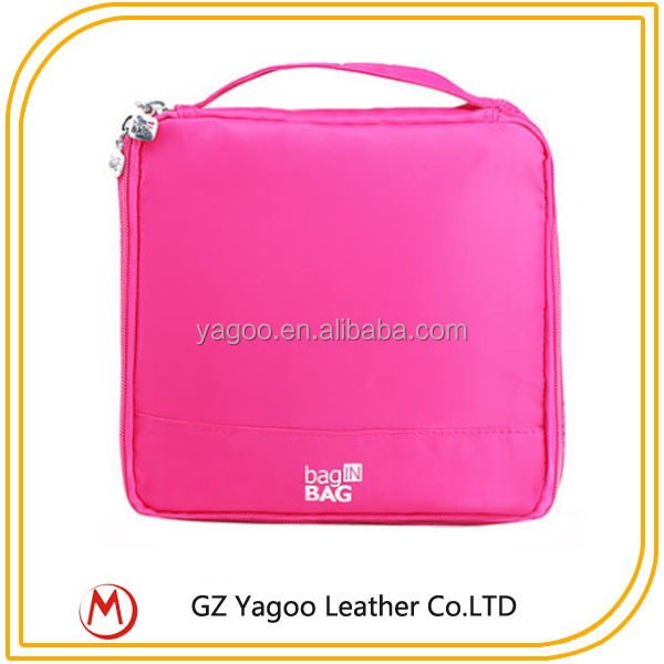 2015 Lady Stylish Travel Square Cheap Cosmetic Bag with Hook