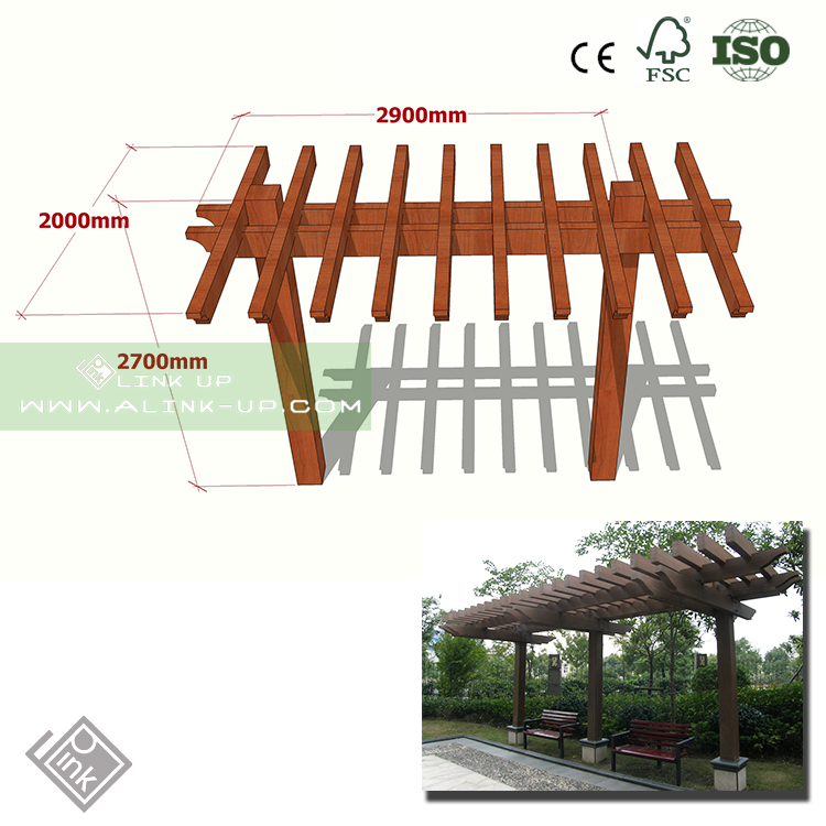 chinese style new design wpc pergola water proof fireproof fadeless durable public square pergola
