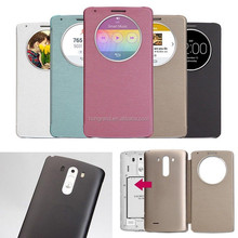 Ultra slim circle view clear window flip leather case for LG Optimus G3 D855 D850
