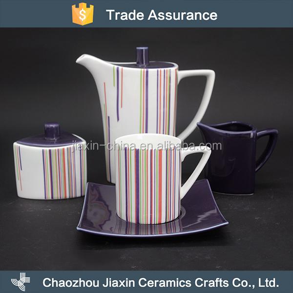 Modern stripe decal purple porcelain coffee tea set