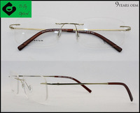 Wenzhou high standard fancy design gold rimless titan eyeglasses frames