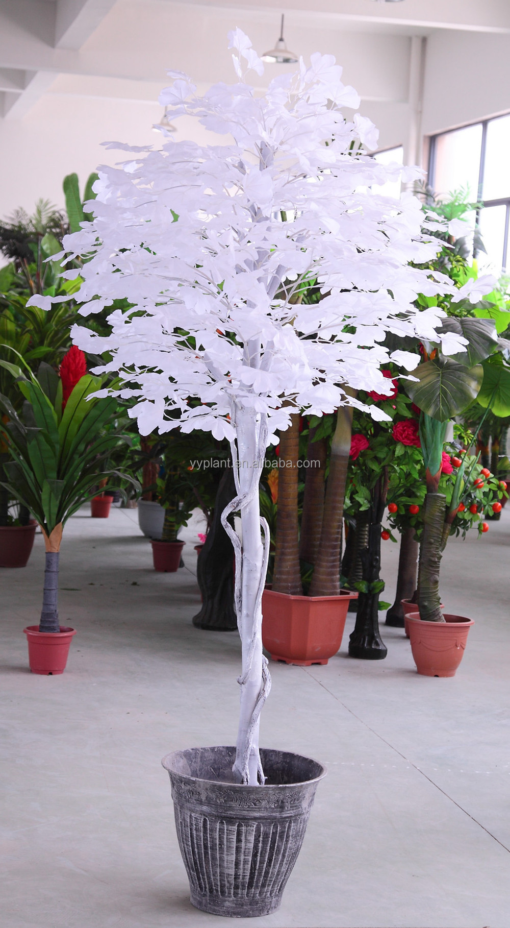 Factory Supply Wholesale Artificial Ginkgo Leaf, Decorative White Ginkgo Branch