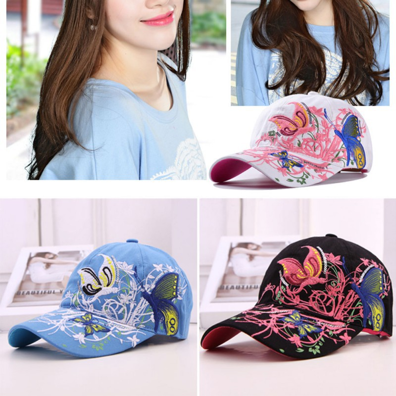 Summer Adjustable Baseball Cap Women Lady Flowers Butterfly Embroidered Golf <strong>Hat</strong> Wholesale