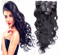 24inch best quality thick end strong clips in hair extensions