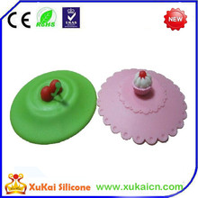 Beautuful fruit shape silicone rubber coffee cup lid