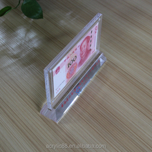 Custom design acrylic banknote frame wholesale/ plexiglass currency holder wholesale