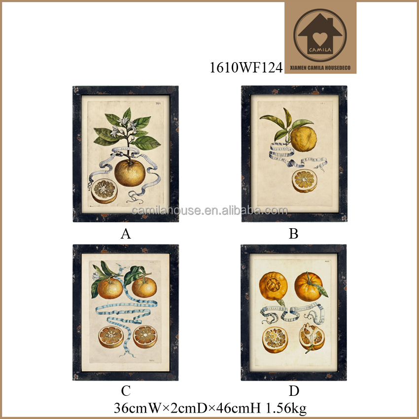 Black Frame Custom Picture Frame Shabby Chic Wall Hanging Pictures 3D Handmade Oranges Pattern Paintings and Antiques