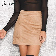 Simplee 2017 autumn winter vintage high waist zipper bodycon short leather suede pencil skirt