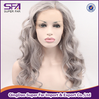 Best sale silver grey synthetic lace front wig