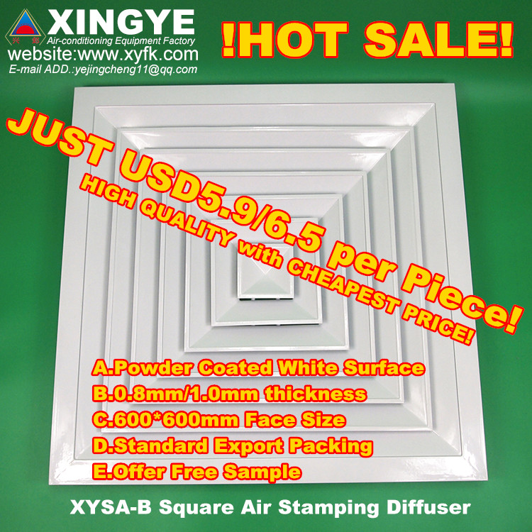 air conditioner aluminium alloy square air duct diffusers&grilles&louvers with damper XYSA-B600 HVAC
