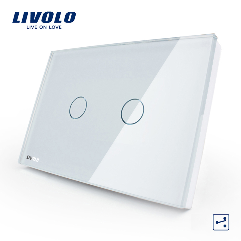 LIVOLO White Glass Panel 2 gang 2 way US/AU standard Touch Screen Light Switch with LED indicator VL-C302S-81