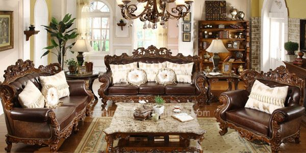 carved-wood leather sofas