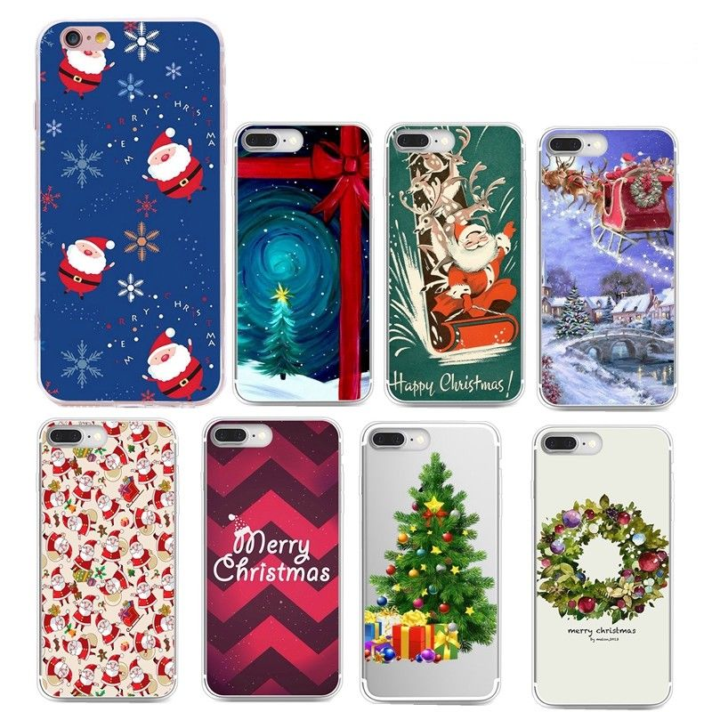 Christmas Pattern Rubber TPU Silicone Cell Phone Case Cover For Samsung Galaxy S8 S6