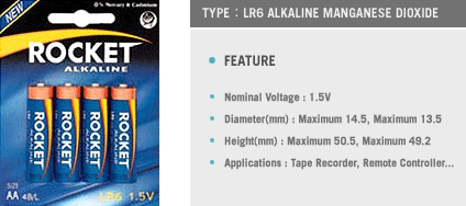 Good Quality 1.5V AA Alkaline Dry Battery