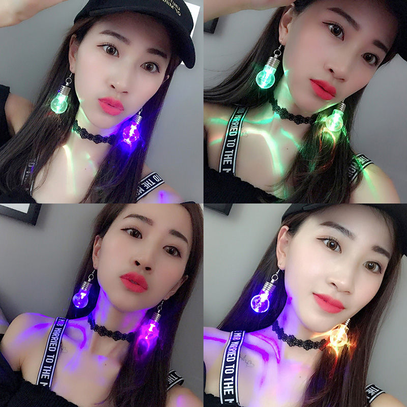 2017 hot selling fashion funny colorful light up Acrylic bulb led earrings for Women Party jewelry Wholesale