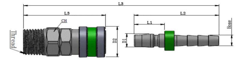 Series 60--For Oxygen/Fuel Gas Type Quick pneumatic Couplings