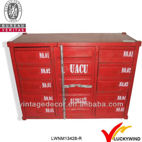 hand paint shabby chic iron industrial furniture red