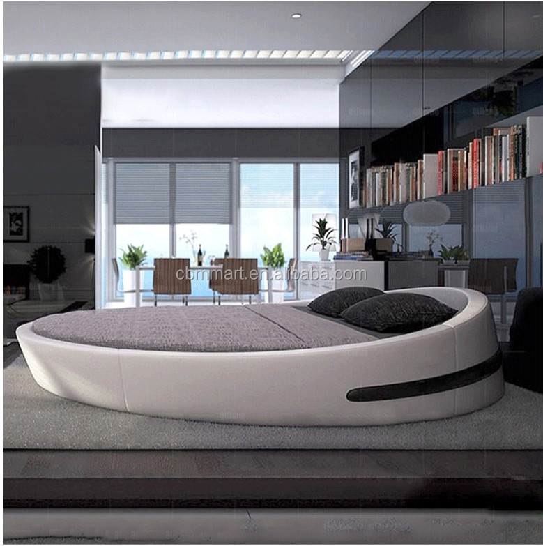 Chinese Latest Double Bed Design King Size Round Bed