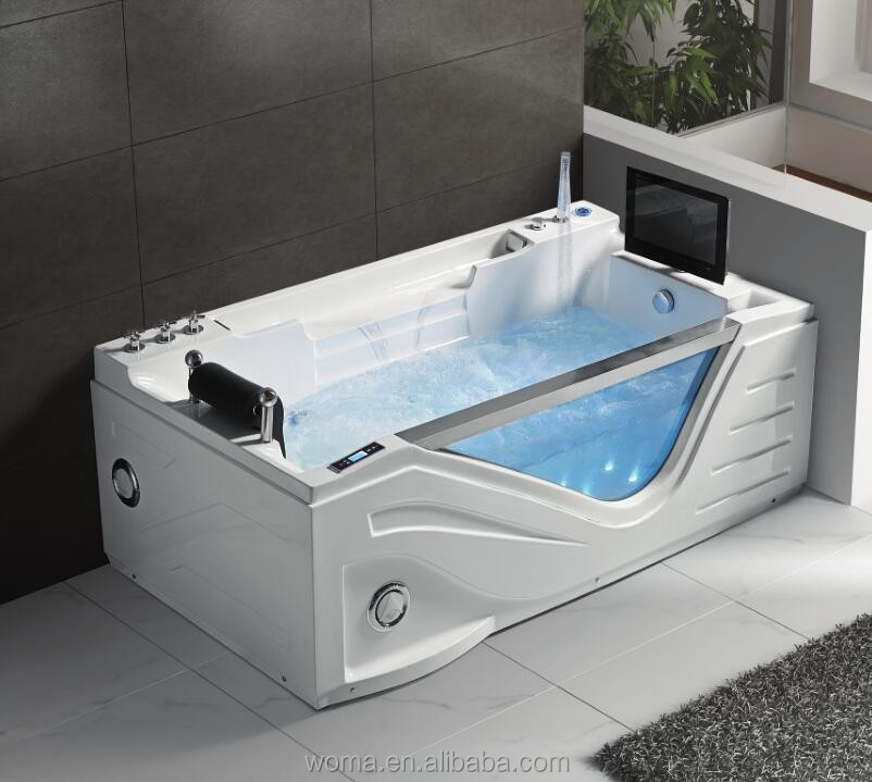 LUXURY Hot sale freestanding glass bathtub for Jacuzzy function with TV Q325S