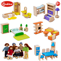 kids pretend play Family dolls room wooden furnitures toy set