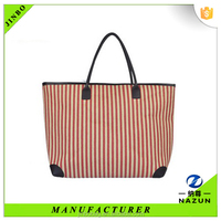 2016 Summer New Crea Style Paper Straw Stripe Handmade Lady Beach Handbag Totebag