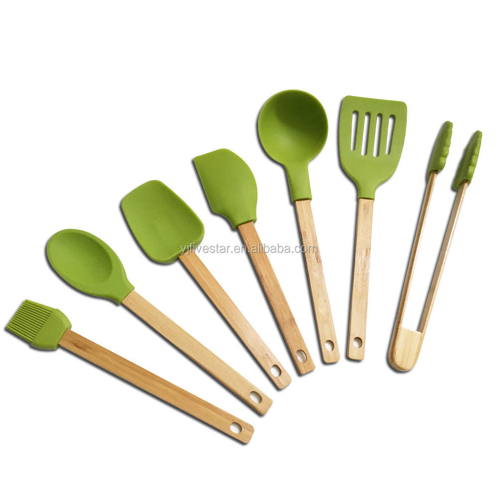 7 Piece Silicone Cooking Utensil Set with Bamboo Handle Includes Basting Brush,Spoon,Spatula,Ladle,Slotted Turner,Tongs