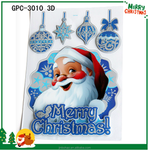 China factory wholesale 3d Christmas glass window stickers and removable vinyl sticker