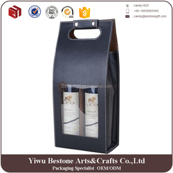 New design of 2 packed cheap black PU leather cardboard wine bottle carrier wholesale