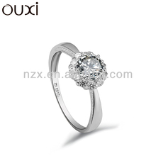 OUXI fashion new model 18k white gold plated wedding ring Y70012