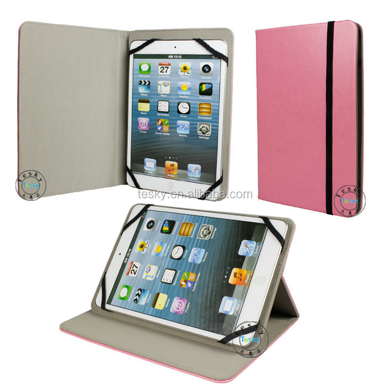 Hot Sale Book Style Flip PU Leather Case For Tab 7 Inch 8 Inch Universal Tablet PC Cover Pink