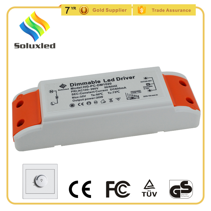 External Close Frame 20W Plastic LED Transformer 600mA Constant Current 0-10V Dimmalbe Driver LED
