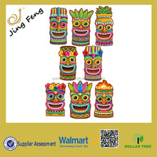 8 LUAU Hawaiian Tropical Party Decorations 11 inch TIKI Head Totem CUTOUTS hawaii party decoration