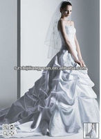 SJ1124 new design white good quality sleeveless full length ball gown silver embroidery wedding dress