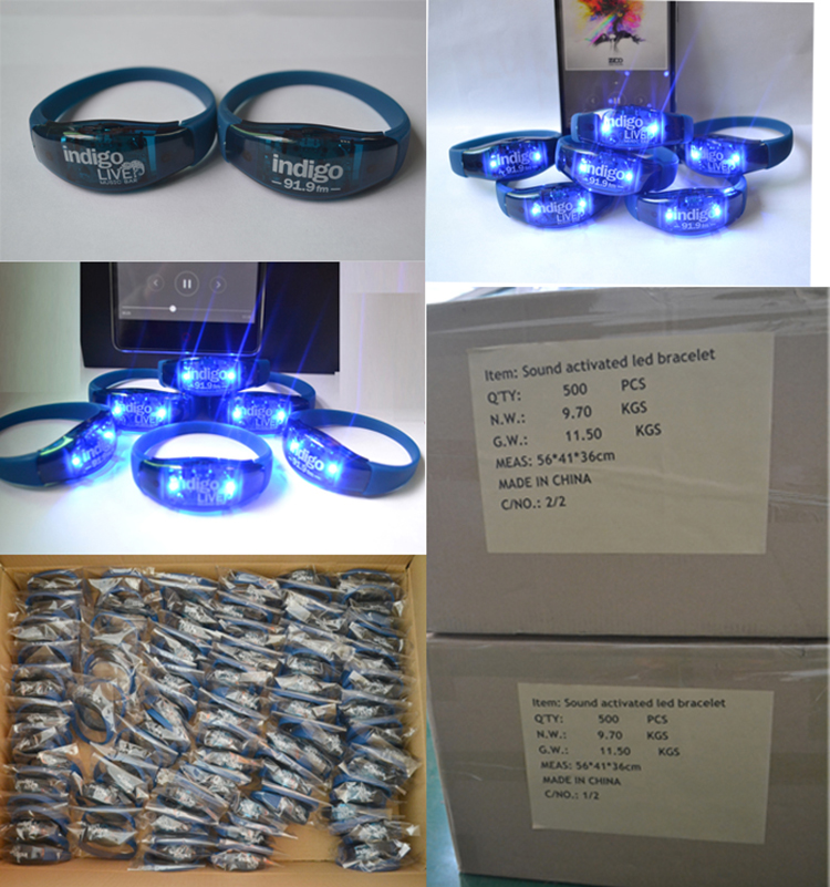 Custom Sound/Motion Activated LED Bracelet, Flashing Bracelet, Light Up Bracelet