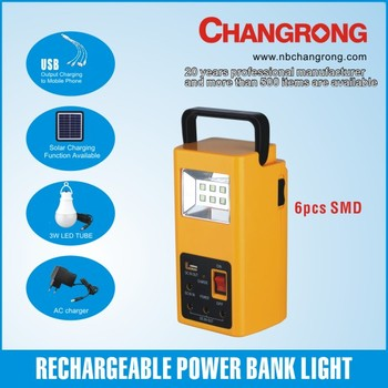 portable solar rechargeable emergency light emergency lights with power bank USB