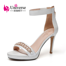E051 pearl and crystal decorated slim high heel sandals elegant women ankle strap shoes