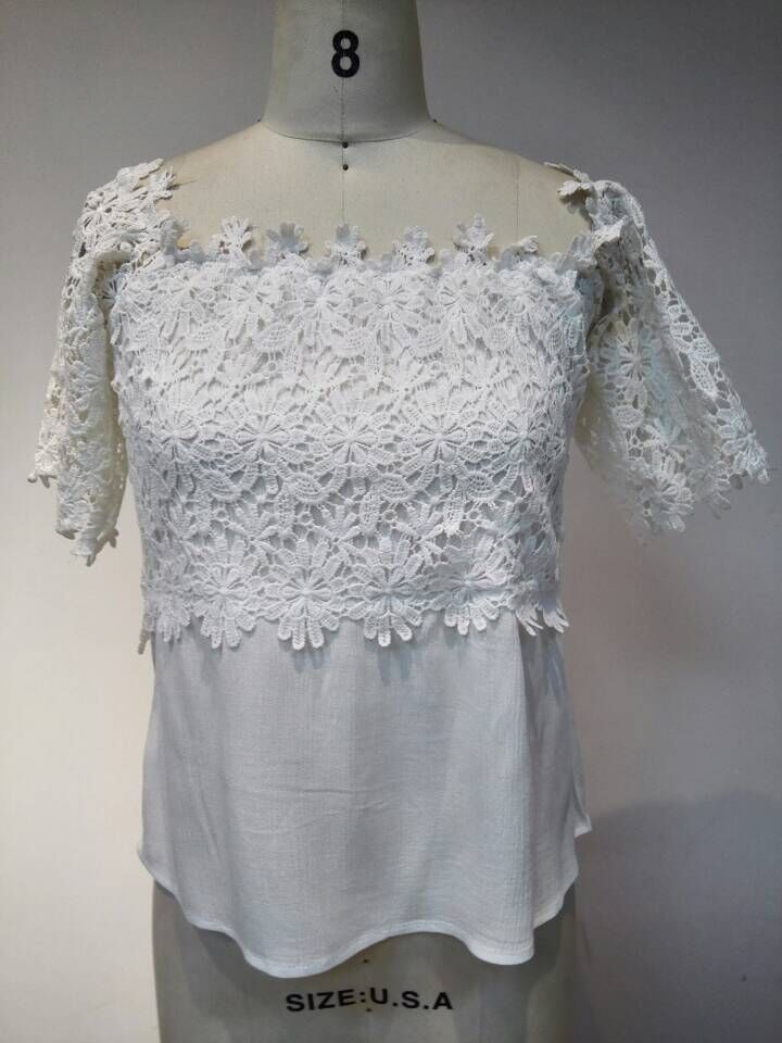 New design elegent off shoulder lace blouse for women