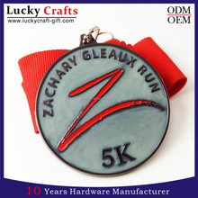 Custom round glow in the dark sports running medals with ribbon