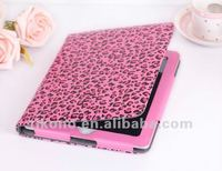 High quality leopard wallet leather case for iPad with retail packing