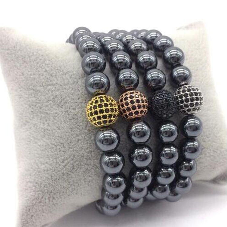 New arrivarls stainless steel zircon ball braided bangle macrame bracelet unisex bracelets