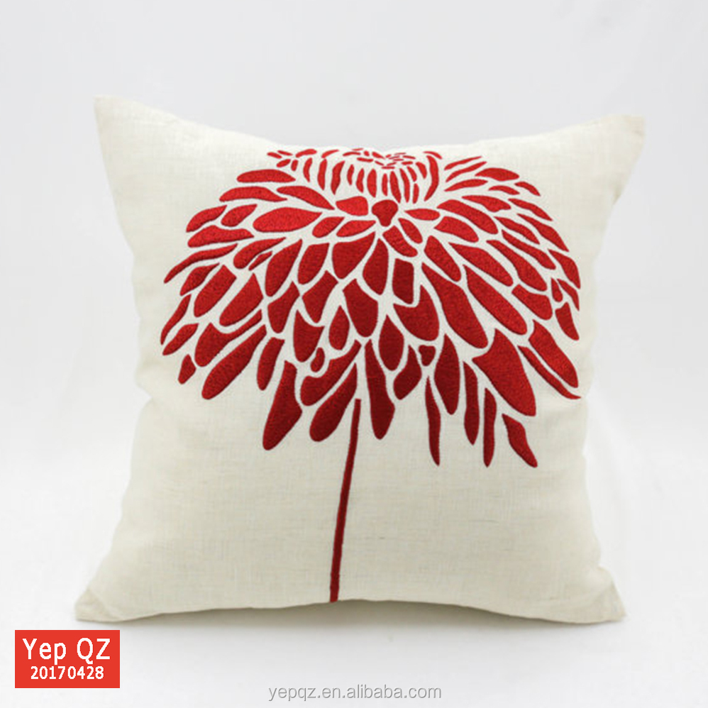 Top quality fashion China online shop cushion cover white cotton pillow case embroidery designs