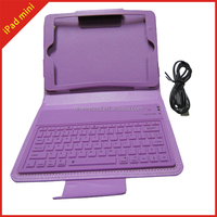 Guangzhou supplier flip case for ipad mini leather with keyboard, flip leather cover stand with keyboard case for ipad mini