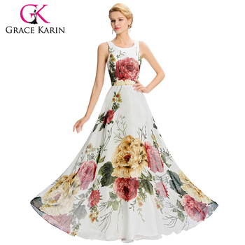 Grace Karin 2016 New Design Women Long Sleeveless Flower Pattern Chiffon Long Prom Dress GK000033-1