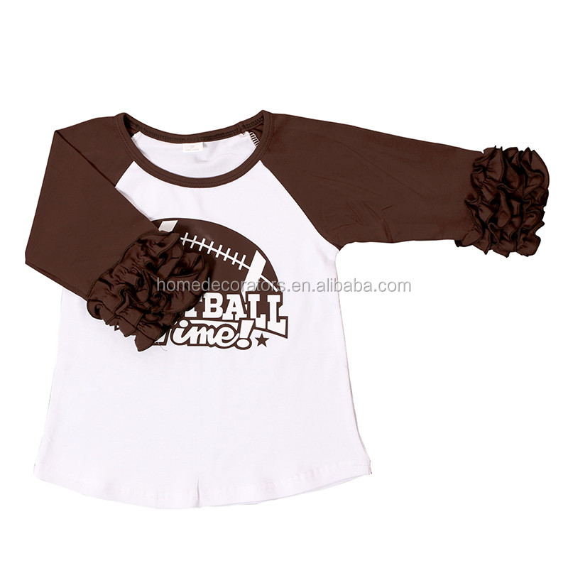 3/4 ruffle shirts for baby girl wholesale icing ruffle raglan shirt boutique cotton t shirt