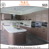 Solid wood kitchen cabinet, new designed wooden kitchen, kitchen painted in pearl white color