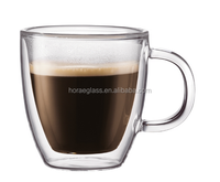 Hot selling double wall glass , double wall glass coffee mugs ,double wall drinking glass with handleglass