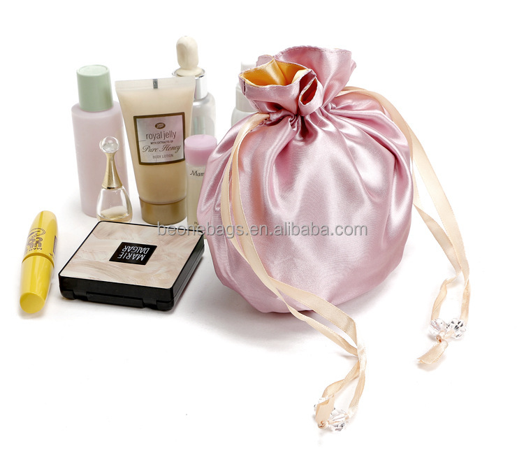 Custom logo print small satin draw string bag drawstring gift pouch with rope crystal