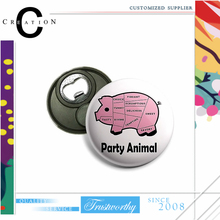 Tinplate Fridge Magnet with Bottle Opener Pig Party Animal Opener Button Badge